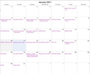 January Meal Calendar