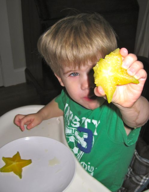 Colton Eating Star Fruit